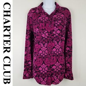 CHARTER CLUB SILKY DAMASK FLORAL PRINT BLOUSE